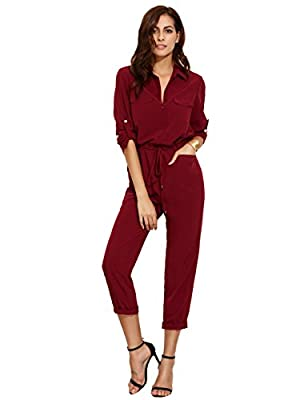 Verdusa Women's Casual Long Sleeve Drawstring Rompers Jumpsuits