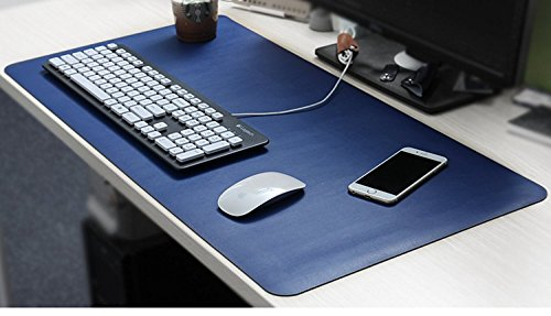 """Yikda Extended Leather Mouse Pad / Mat, Large Office Writing Gaming Desk Computer Leather Mat Mousepad,Waterproof,Ultra Thin 1.2mm - 31""""x15.5"""" (Blue)"""