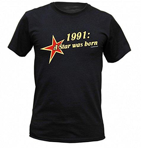 Birthday Shirt - 1991 A Star was born - Lustiges T-Shirt als Geschenk zum Geburtstag - Schwarz