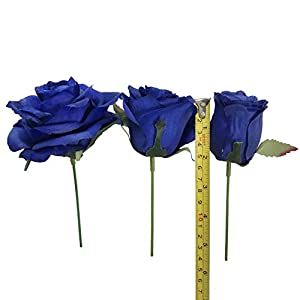 DALAMODA Artificial Silk Flowers Rose Heads DIY for Wedding Bridesmaid Bridal Bouquets Bridegroom Groom Men's Boutonniere and Corsage,Shower Party Home Decorations 24pcs (Royal Blue) 3