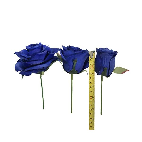 DALAMODA-Artificial-Silk-Flowers-Rose-Heads-DIY-for-Wedding-Bridesmaid-Bridal-Bouquets-Bridegroom-Groom-Mens-Boutonniere-and-CorsageShower-Party-Home-Decorations-24pcs-Royal-Blue