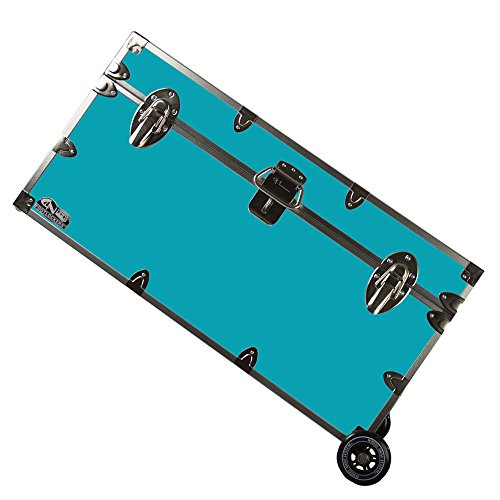 C&N Footlockers College Dorm Room & Summer Camp Lockable Trunk Footlocker with Wheels - Undergrad Trunk Available in 20 Colors - Large: 32 x 18 x 16.5 Inches (Teal)