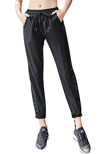 New ornament Pants Womens Casual Side Slit Elastic Haren Sport Pants Waistband Outdoor Leggings,Medium,Black (Sims 2 Jeans)