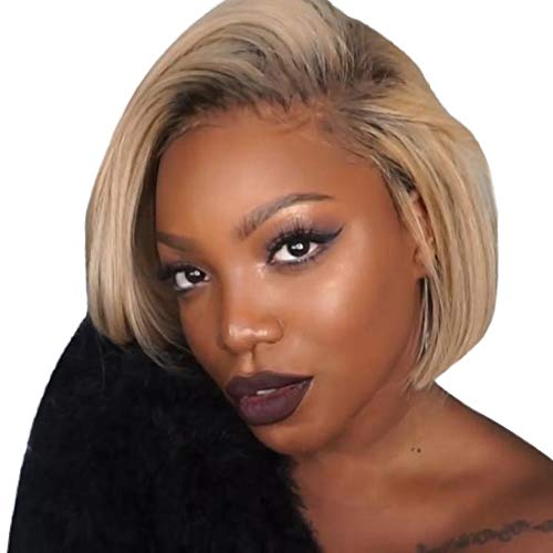 Hot Wheatness Wig with Baby Hair Human Hair Full End Short Bob Wigs for Black Women ()