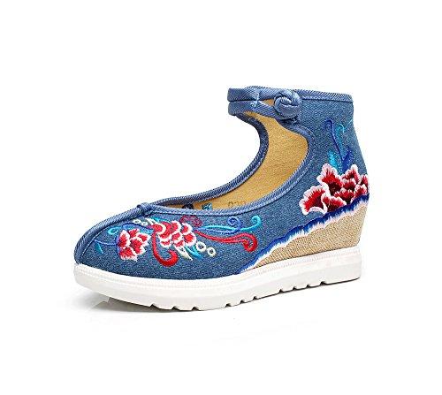 Aumento Ming Blue Tendine Scarpe Casual Del Ricamate Suola Comodo Biancheria Stile Etnico Femminili Moda rxUHc8rqWw
