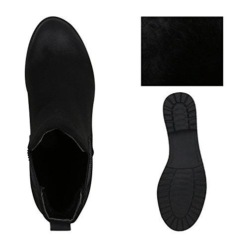 Stiefelparadies - Botas Chelsea Mujer Schwarz Matt