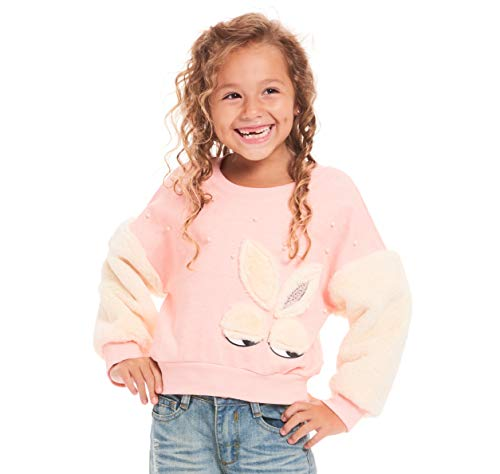 TRULY ME, Big Girls' Embellished Pullover Sweatshirt with Faux Fur Bunny Graphic, Size 7-16 (Pink/Ivory, 8)
