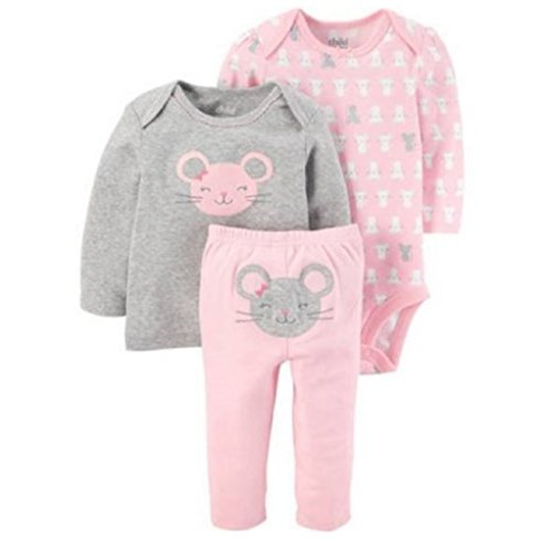 Price comparison product image Preemie Baby Girl Clothes Long Sleeve Shirt Pants and Bodysuit 3 Piece Carters Child of Mine (Preemie, Grey Mouse Pink)