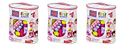 Mega Bloks uOcMal 80 Piece Big Building Bag, Classic, Pink, 3 Units