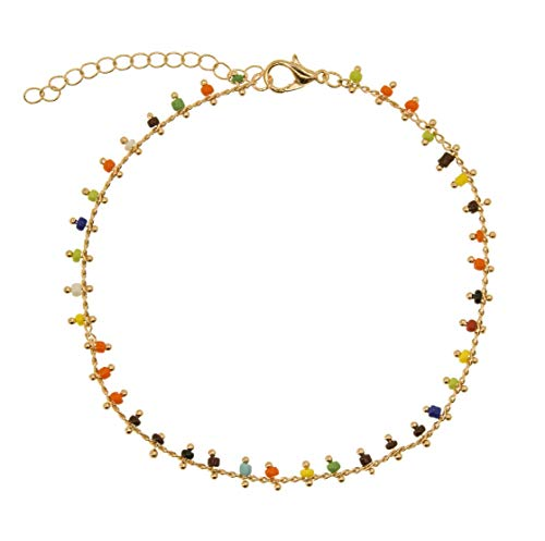 (RXBC2011 Multi Color Indian Beads Gold Chain Anklets for Women, Gypsy Style Boho Anklet for Teen Girls, Bohemian Ankle Bracelets for Women)
