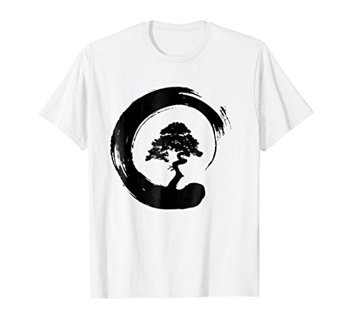 Bonsai Tree Enso Circle - Buddhist Zen Calligraphy T-Shirt