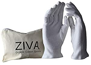 100% Organic Cotton Moisturizing Eczema Gloves for Dry Hands - 4 Pairs and Free Bag by ZIVA | Inspection Jewelry Work Gloves
