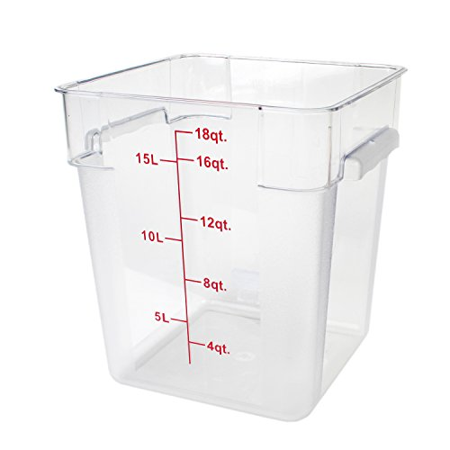 Excellante 849851007567 Polycarbonate Square Food Storage Containers, 18 quart, Clear