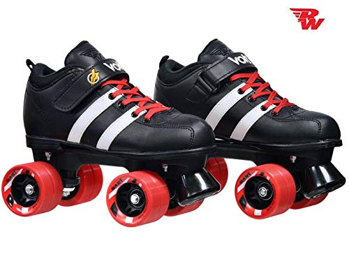 Riedell Custom Red Volt Quad Derby Speed Roller Skates w/Dart Wheels & Laces (Adult 9)