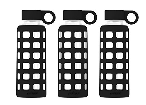 purifyou Premium Glass Water Bottle with Silicone Sleeve & Stainless Steel Lid Insert, 12/22/32 oz (3 Pack Jet Black, 12 oz)