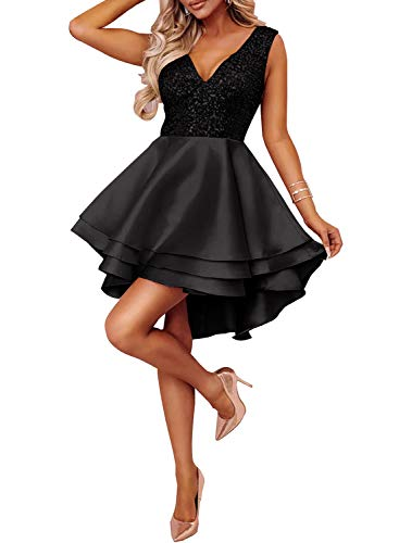Elapsy Womens Sexy Heart Broken Black Gold Sequin Multi Layer High Low Evening Wedding Skater Dress ()