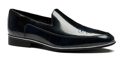 OPP Hombres Loafer Flats vestido formal zapatos de piel suave Tiny agujeros Slip-On decoración Azul