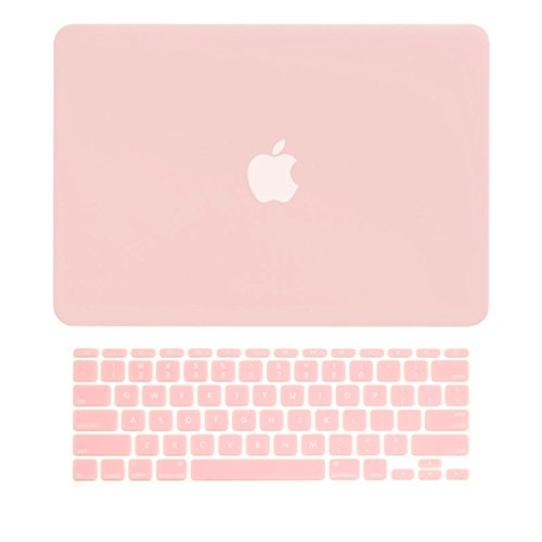 TOP CASE - 2 in 1 Bundle Deal Rubberized Hard Case Cover and Rose Quartz Keyboard Cover Compatible with Apple MacBook Air 11