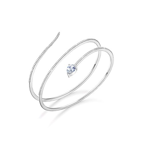 SHINCO Snake Shape 18k White Gold Plated Open Adjustable Bangle Cuff Wrap Bracelets CZ Diamond Jewelry for Women Girls, Gifts for Thanksgiving Day, Christmas and New Year