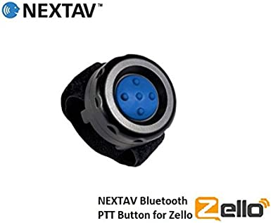 NEXTAV Bluetooth PTT Button Switch for ZelloWork Zello with Strap Fastener with Blue Color Rubber Button for Samsung Galazy Android Phone