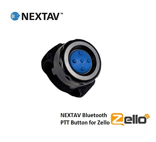 NEXTAV Wireless Bluetooth PTT Button Switch for iPhone iOS and for Android  Bluetooth Low Energy for Zello App with Strap Fastener with Blue Color
