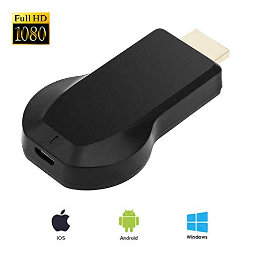 WiFi Display Dongle, Wireless HDMI Screen Mirror, WiFi 1080P Screen Image Dongle Streaming Media Player for iOS/Windows/Android/Projector Connector/TV/MAC OSX (Black)