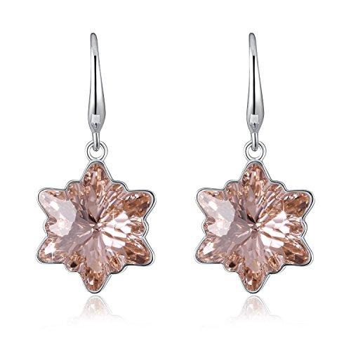 Drop Earrings Crystal Flower (Champagne Crystal Snow Flower Earrings SUE'S SECRET Love Snowflake Drop Earrings with Swarovski Crystals, Flower Crystal Earrings Birthstone Gifts for Women/Girls)