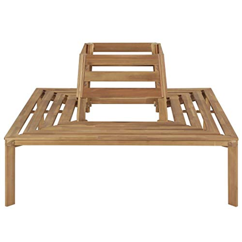 Festnight Patio Tree Bench Outdoor Surround Garden Bench Solid Acacia Wood