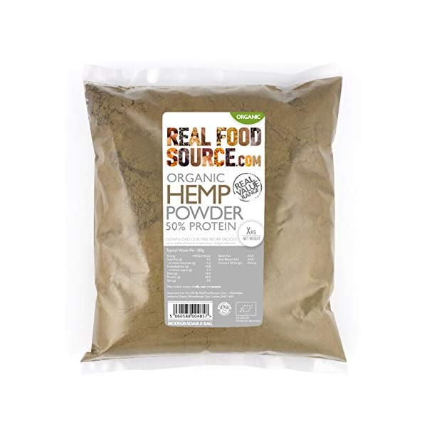 RealFoodSource Certified Organic Hemp Protein Powder 50% Protein 1kg