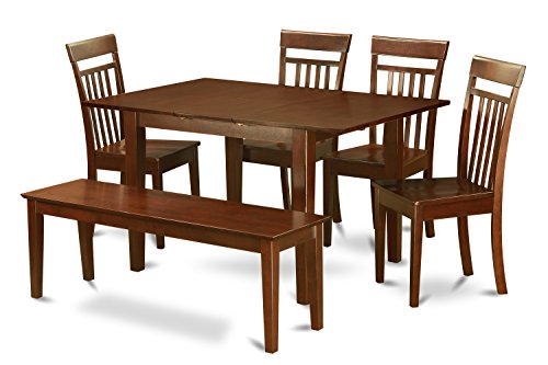 East West Furniture MLCA6-MAH-W 6 PC Dining Room Table Set-Dining Table & 4 Chairs & One Benches