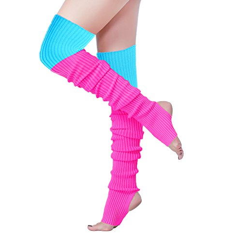 V28 Women Girls 80s Knee Thigh High Knit Neon Long Leg Warmers for Sports Yoga (Hole81-mix6)