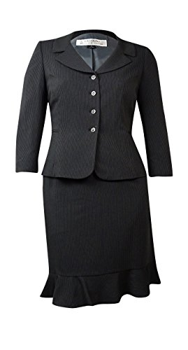 [Tahari Women's Montreal Muse Pinstriped Pocket Skirt Suit (14, Navy/White)] (Pinstriped Skirt Suit)
