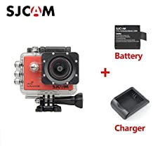 Original SJCAM SJ5000X Elite Sport Action Camera 4K 1080P WiFi Waterproof 170°Wide Angle Lens 12MP SONY IMX078 Gyro AV or HDMI Out And OSD Enabled with Extra Battery Charger Red