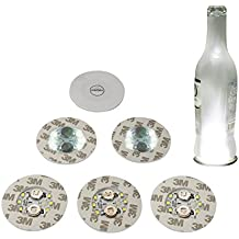 Accmor 6 PCS Wine Bottle Lights, 6 LEDs Sticker Coaster Discs Lights for Wine Liquor Bottle Clear Glass Decoration for Halloween Party, Wedding, Bar, Christmas(UL Certified, Cool White)