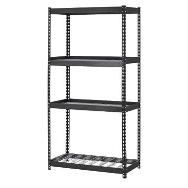 Muscle Rack TRK-361860W4 Depth Steel Shelving Unit, 4-Shelf, 36  Width x 60  Height x 18 , Black