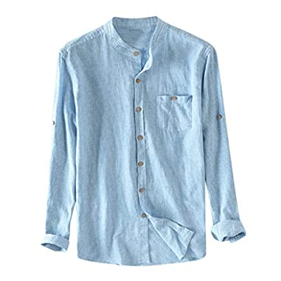 OrchidAmor Men's Boys Baggy Cotton Breathable Striped Button Pocket Plus Size Long Sleeve Shirts 2019 Summer