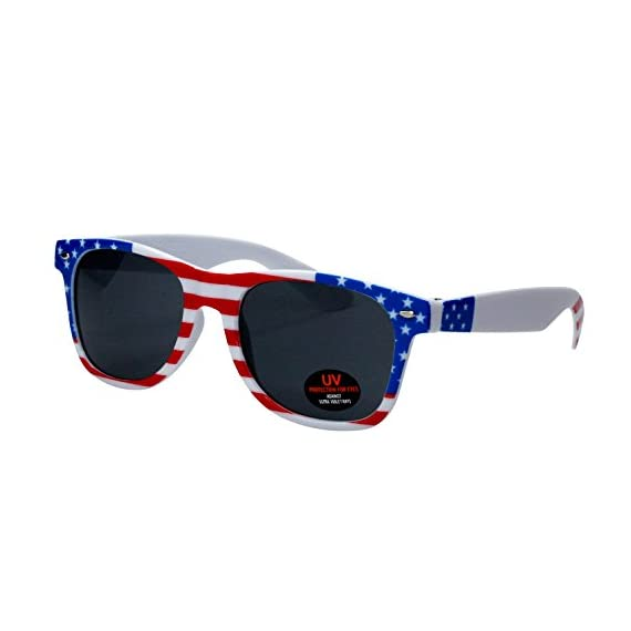 USA Merchant | Sunglasses for Men, Women & Kids by Ray Solée- 3 Pack of Tinted Lenses with UVA & UVB Protection 3 3 PIECE PACK - This bulk pack of inexpensive shades comes with 3 American flag themed glasses great for summer time and parties all year round. UVA&UVB - Ray Solée glasses are ultraviolet tinted with anti-reflective UV 400 protection from the sun. MONEY BACK GUARANTEE- We are so sure that you will love our product that it comes with a 30 day Risk-Free 100% money-back-guarantee. If you are not fully satisfied with our product, let us know and receive a full refund.