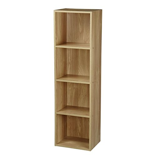 Furnituremaxi 4 Tier Wooden Bookcase Display Shelves Storage Unit Home Office, Oak, 30 x 23.5 x 106 cm Sheng Yang 21351