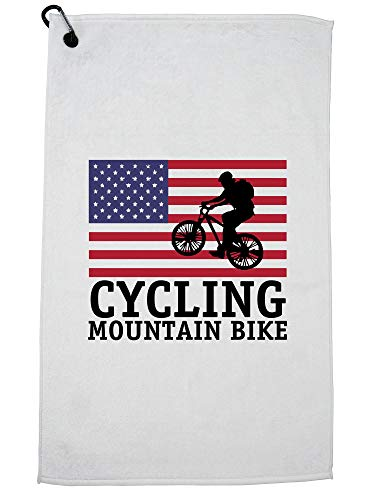 Hollywood Thread USA Olympic - Cycling Mountain Bike - Vintage Flag - Silhouette Golf Towel Carabiner Clip by Hollywood Thread