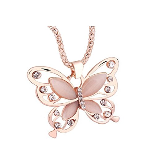 Botrong® Fashion Womens Lady Rose Gold Opal Butterfly Pendant Necklace Sweater (Rose Quartz Butterfly Necklace)