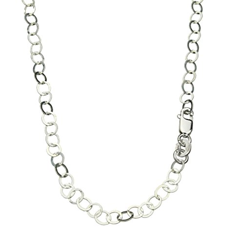 Sterling Silver 4mm Flat Round Link Circle Nickel Free Chain Necklace Italy, 18