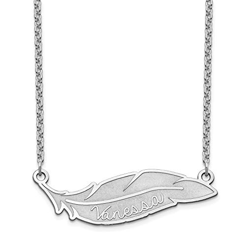 Brilliant Bijou Feather Nameplate Personalized Necklace - Medium Size (Sterling Silver) ()