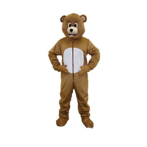 Dress Up America Bear Mascot, Brown, Adult One Size ()