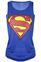 Womens Ladies Batman Superman Superwoman Girls Comic Hero Tank Top T Shirt Vest