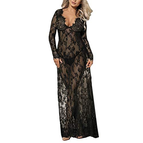 Oasisocean Women's Exotic Dresses Plus Size Sexy Negligee Nightie Lingerie Lace Long Skirt Sleepwear with G-String Black - Nightie Negligee