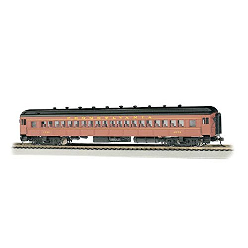 - Bachmann Industries Tuscan Postwar #4536 Red & Yellow Ho Scale 72' Heavyweight Coach Car with Lighted Interior