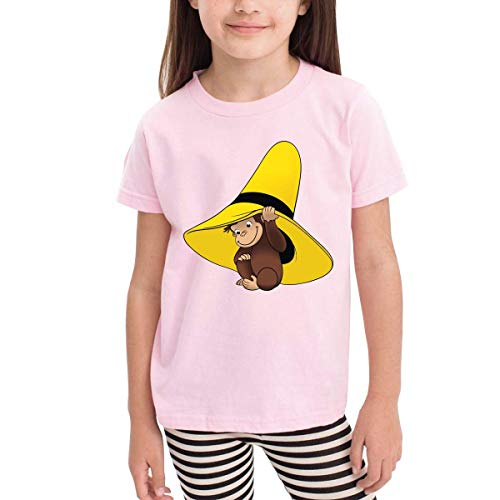 sretinez Children's T-Shirt, Curious George Pattern Shirt Short Sleeve Cotton Graphic Tee for Girls Boys Kids Pink