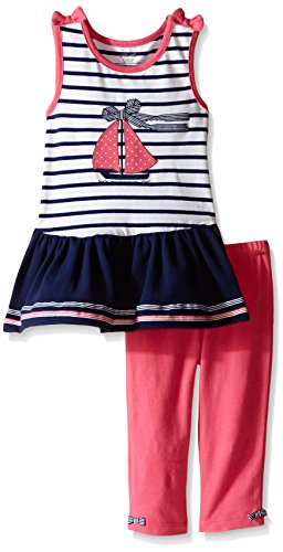 Little Me Toddler Girls' Sailboat Tunic With Capri Set, Multi, 4T (Toddler Girls Capri Set)