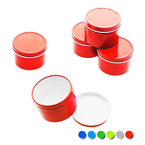 Mimi Pack 1 oz Deep Round Metal Tin Container Solid Slip Top Lid For Salves, Favors, Spices, Balms, Candles, Gifts Limited Run Series 24 Pack (Red) (Tin Deep Container)