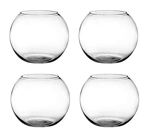 "Floral Supply Online - 6"" Rose Bowls (Set of 4) - Glass Round Vases for Weddings, Events, Decorating, Arrangements, Flowers, Office, or Home Decor."